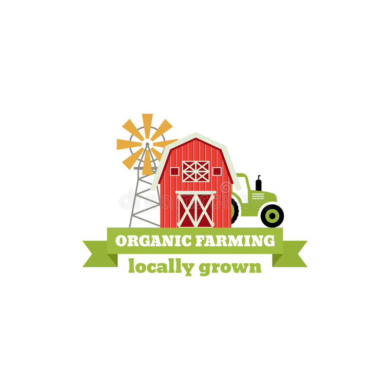 Fresh from the Farm concept logo. Template with farm landscape, windmill. Label for natural farm products. Colorful vector illustration