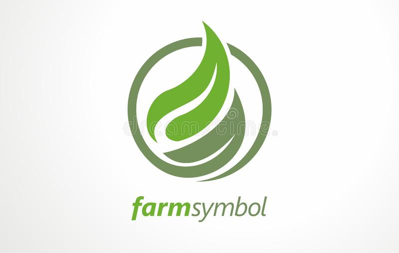 Fresh farm food logo design concept in circle. Stylized symbols and signs for vegan or vegetarian food. vector illustration