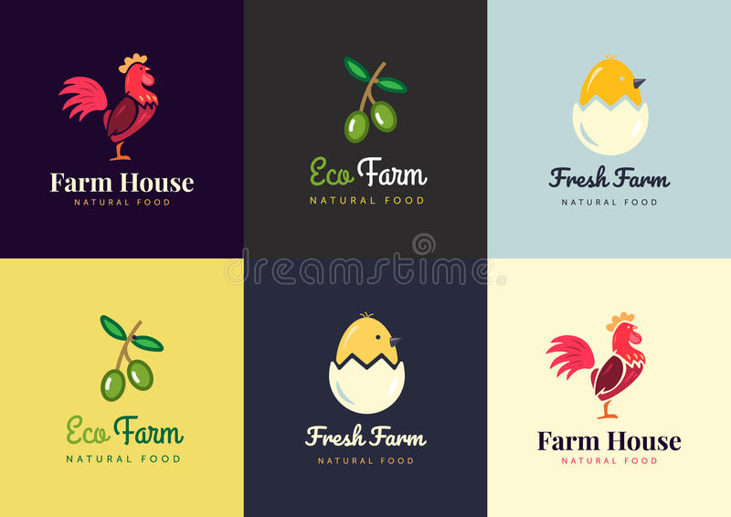 Fresh farm logos set. Vector labels for business with products from chicken meat, eggs and olives. vector illustration