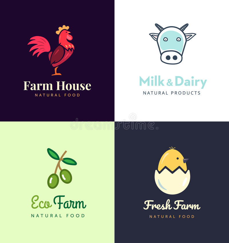 Fresh farm logos set. Vector labels for business with products from chicken meat, milk, dairy, eggs and olives. royalty free illustration