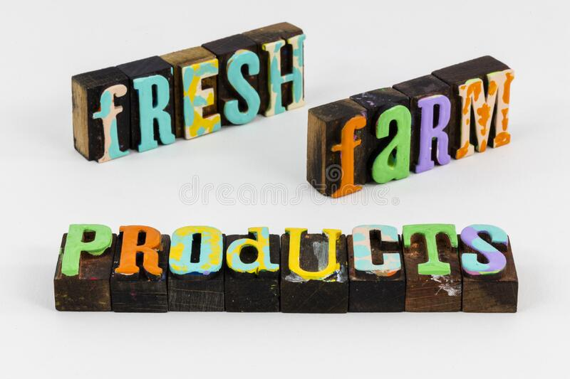 Fresh farm products agriculture letterpress natural organic harvest crop. Fresh farm food products of agriculture natural organic harvest crop is healthy stock photography