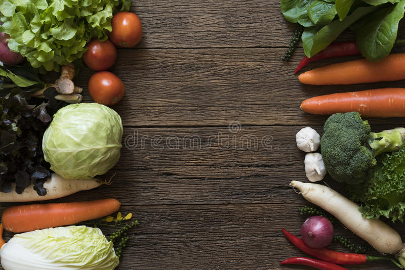 Fresh farmers market fruit and vegetable from above with copy sp stock image