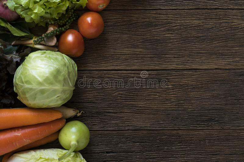 Fresh farmers market fruit and vegetable from above with copy sp royalty free stock image