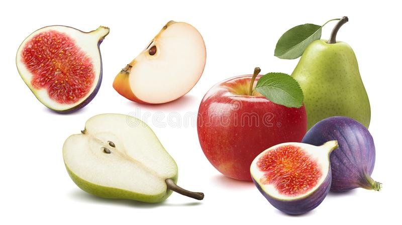 Fresh fig, apple, pear set isolated on white stock photography