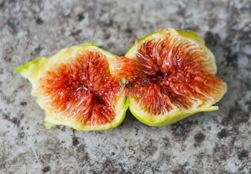 Fresh fig cut open showing the flesh and seeds inside, Spain royalty free stock image