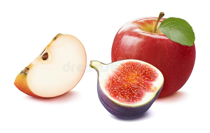 Fresh fig and red apple isolated on white royalty free stock photography