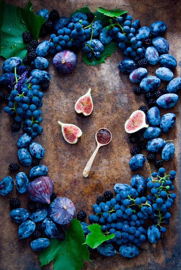 Fresh figs, grapes, prunes and dewberry on wooden background stock image
