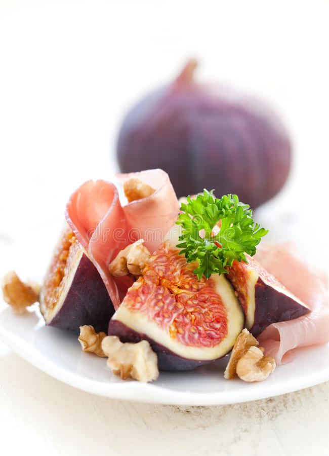 Fresh Figs And Ham Stock Photography