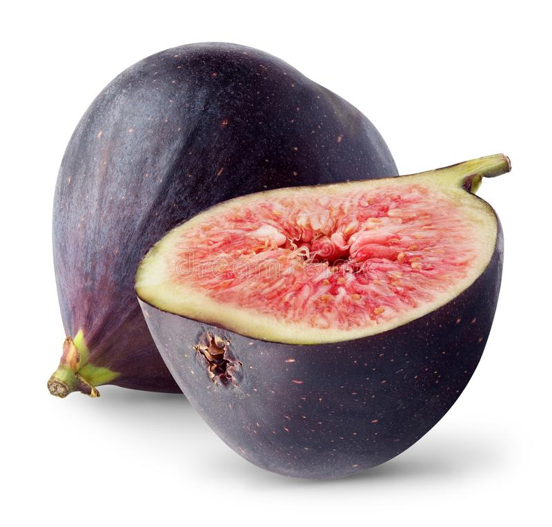 Isolated figs. Whole and half fresh figs isolated on white background, with clipping path royalty free stock photos