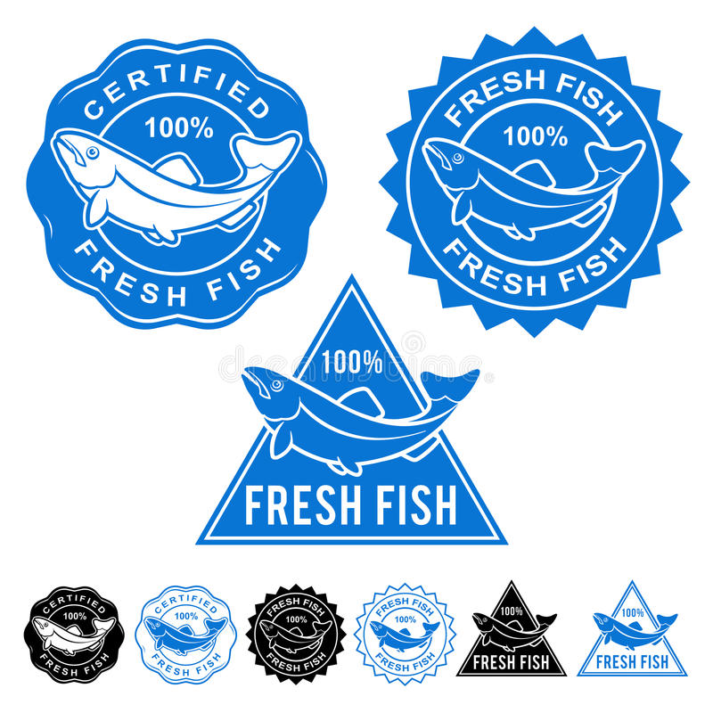 Fresh Fish Certified Seals Icon Set vector illustration
