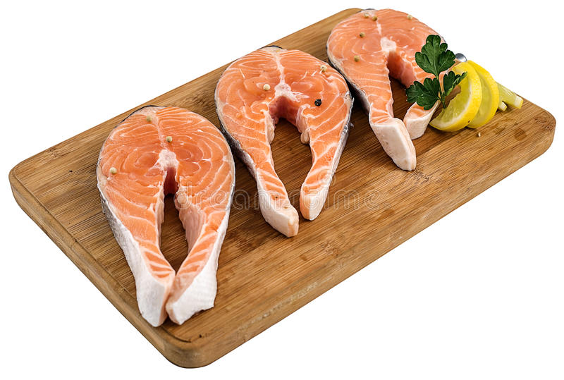 Fresh fish cut pieces. Ice frozen royalty free stock image
