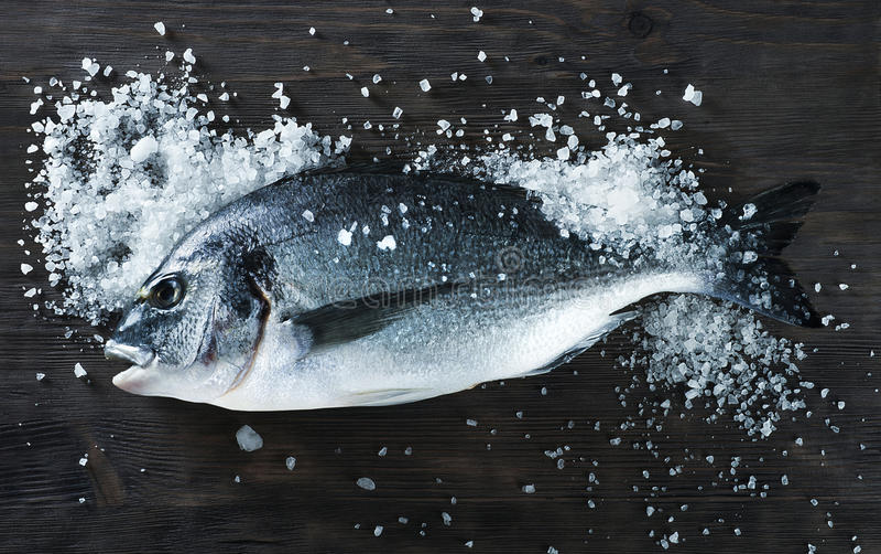 Fresh fish dorado on black board with salt stock image