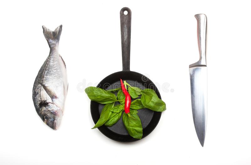 Fresh fish dorado, knife and frying pan. Fresh fish dorado, knife and frying pan with basil leaves and red chilli on a white background. View from above royalty free stock photo