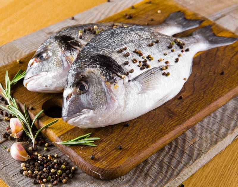 Fresh fish dorado. With rosemary, lemon and colorful stock photo