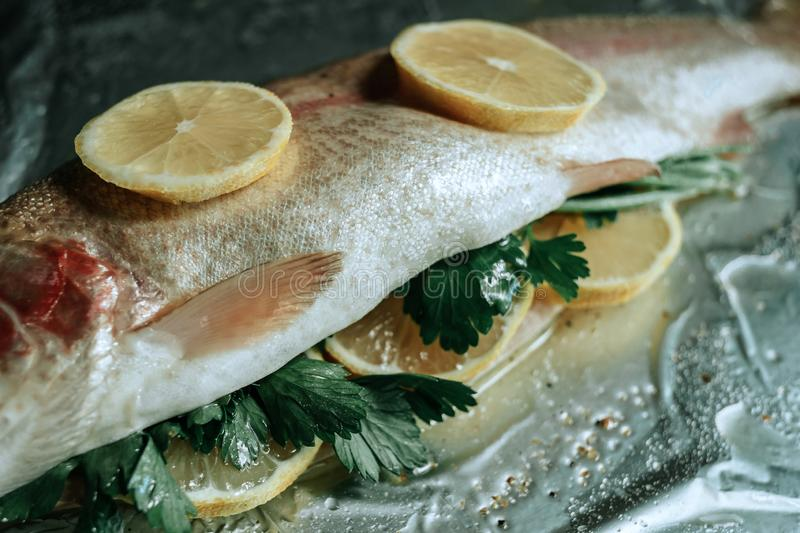 Fresh fish with herbs and lemon on foil prepared for baking stock image