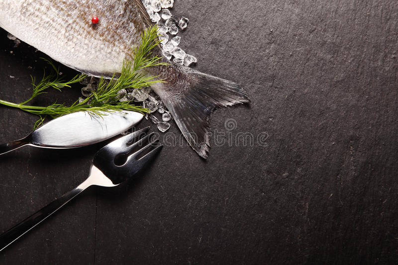 Fresh fish on ice with cutlery. Fresh fish on crushed ice with cutlery placed with the tail visible in the corner over grey slate with copyspace royalty free stock photos