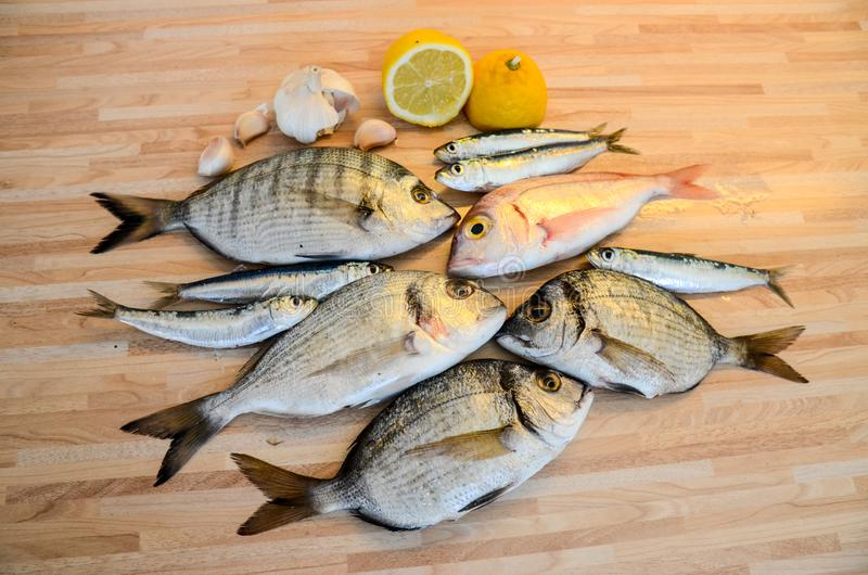 Fresh fish with lemon ready for cooking. Preparing delicious and tasty seafood meal. Uncooked Gilt-head sea bream, Sardines, Commo stock images