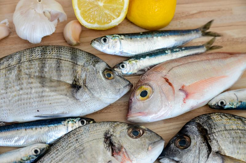 Fresh fish with lemon ready for cooking. Preparing delicious and tasty seafood meal. Uncooked Gilt-head sea bream, Sardines, Commo royalty free stock photography