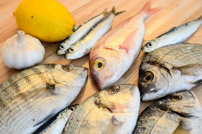 Fresh fish with lemon ready for cooking. Preparing delicious and tasty seafood meal. Uncooked Gilt-head sea bream, Sardines, Commo stock photography