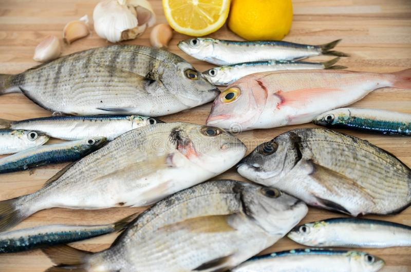 Fresh fish with lemon ready for cooking. Preparing delicious and tasty seafood meal. Uncooked Gilt-head sea bream, Sardines, Commo stock image