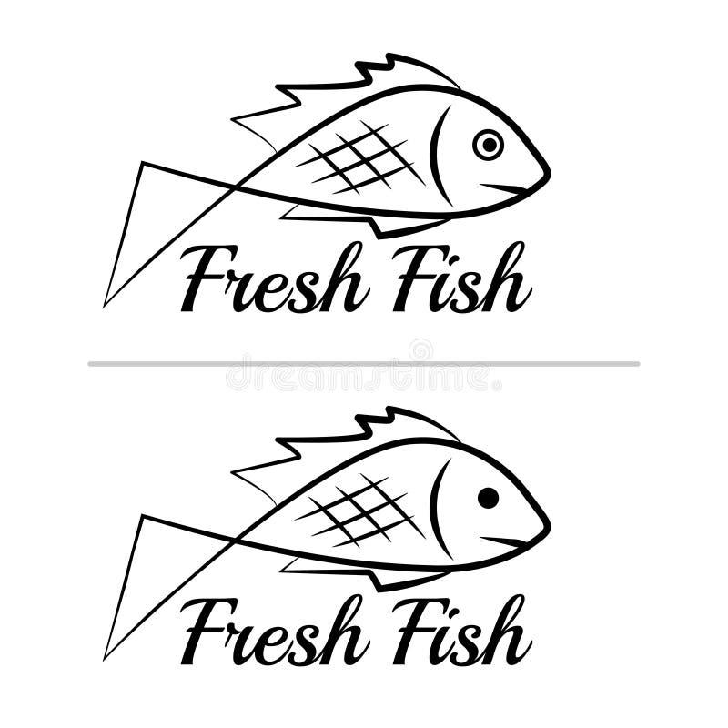 Fresh fish logo symbol icon sign simple black colored set 7 vector illustration