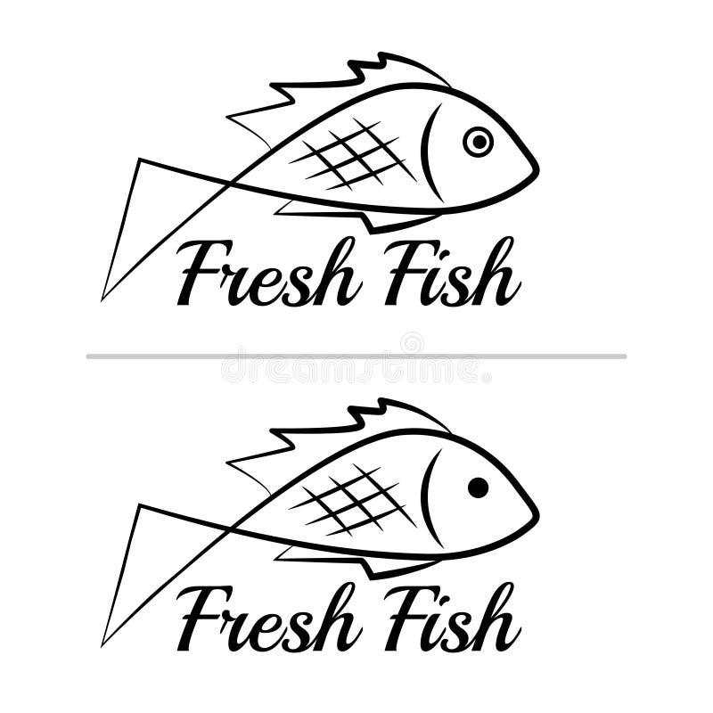 Fresh fish logo symbol icon sign simple black colored set 2 vector illustration