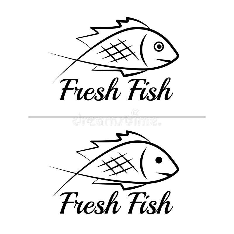 Fresh fish logo symbol icon sign simple black colored set 8 stock illustration