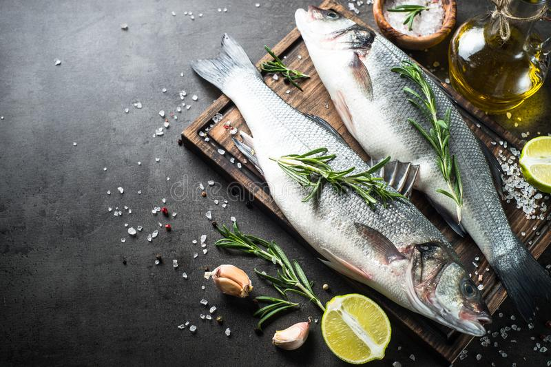 Fresh fish seabass on black. royalty free stock photos