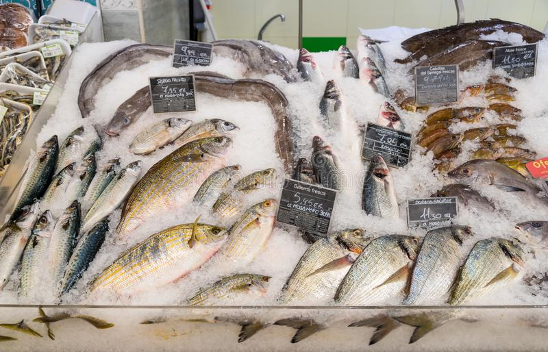 Fresh fish and seafood on ice at supermarket royalty free stock photos