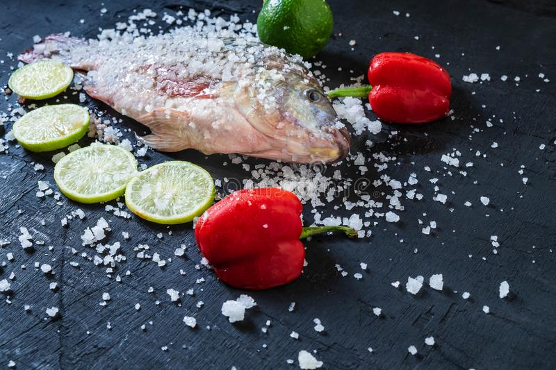Fresh fish of tilapia with salt and seasoning for cooking. royalty free stock photo