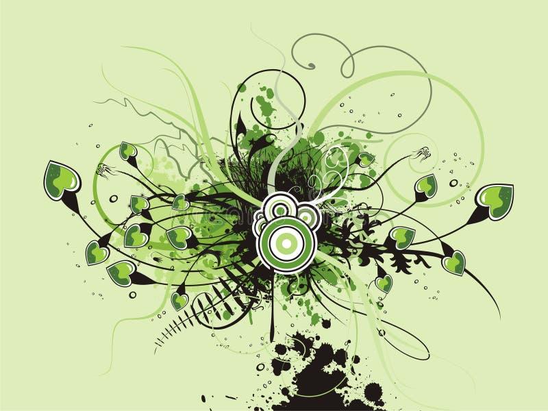 Fresh floral heart background vector illustration
