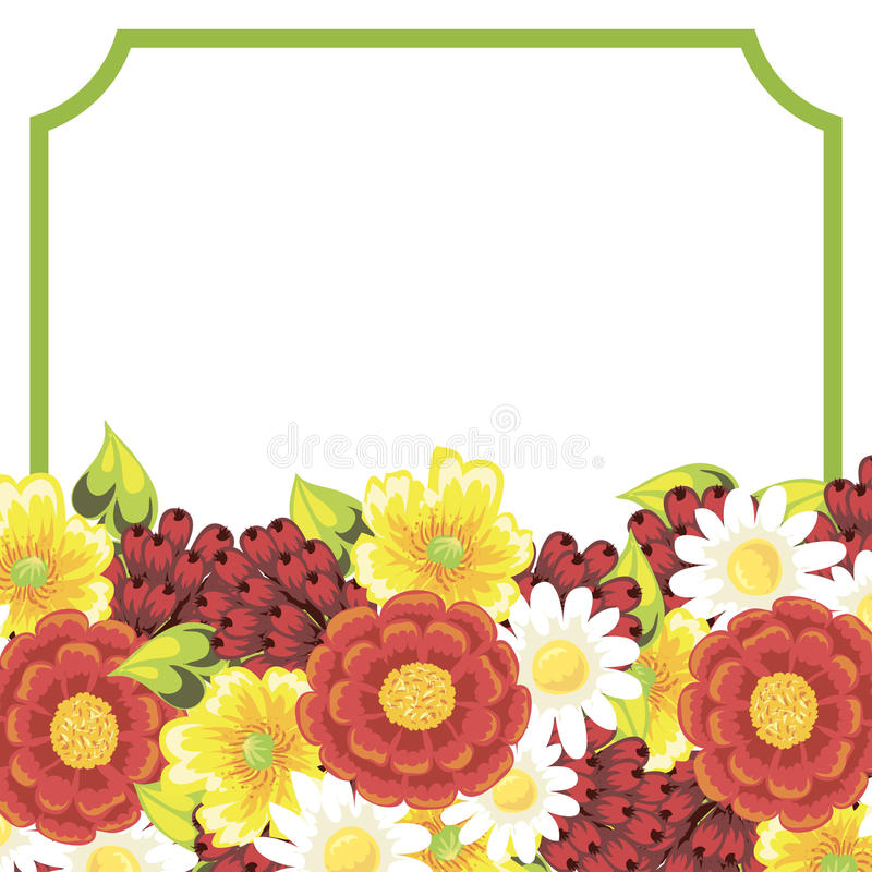 Fresh flower background. Fresh background with plants and flowers stock illustration