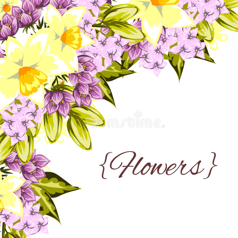 Fresh flower background. Fresh background with plants and flowers royalty free illustration