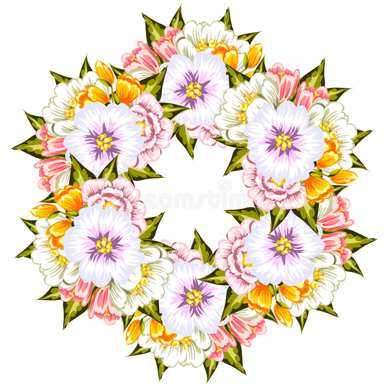 Fresh flower background. Fresh background with plants and flowers vector illustration