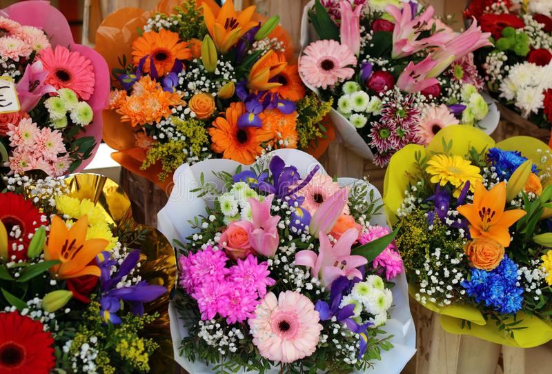 Fresh flowers at farmer market in France, Europe. Italian Spanish and French flowers. Street French market at Nice. royalty free stock image