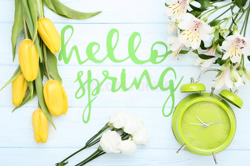 Flowers with text Hello Spring royalty free stock photo