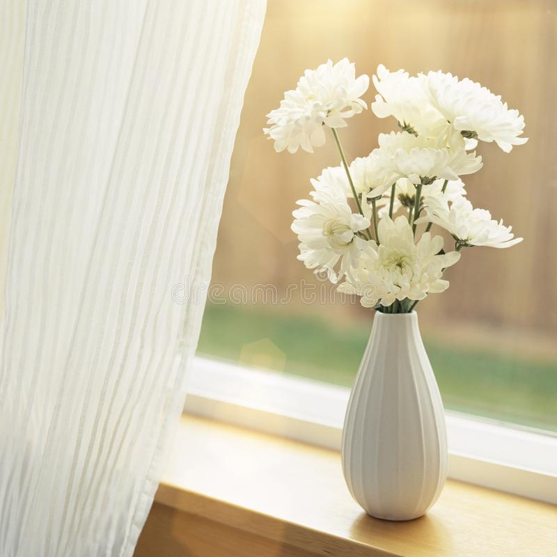 Fresh flowers in vase on windowsill with sheer fabric curtains window coverings. Simple, natural, home interior decor. royalty free stock images