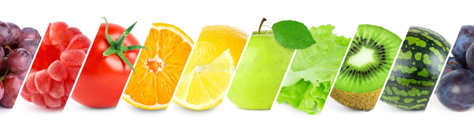 Fresh food. Collection of fresh fruits, vegetables and berries on white background royalty free stock photos