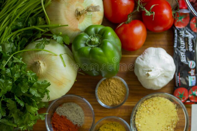 Fresh food on cutting board stock images