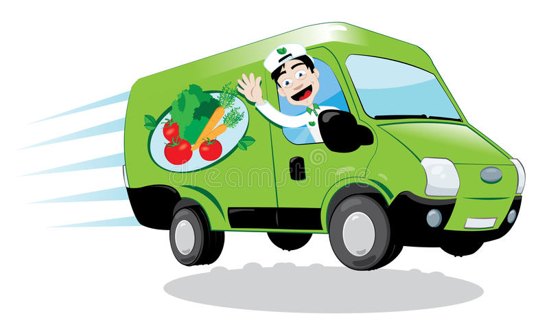 Fresh food delivery van royalty free illustration