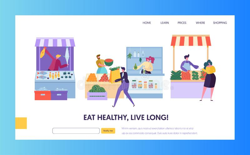 Fresh Food Farmer Organic Market Concept Landing Page. Man Customer Character Choose Vegetable Fruit Fish Seafood Website royalty free illustration