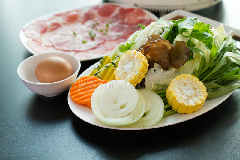 The Fresh food for hot shabu. The Fresh food for hot shabu on a table stock images