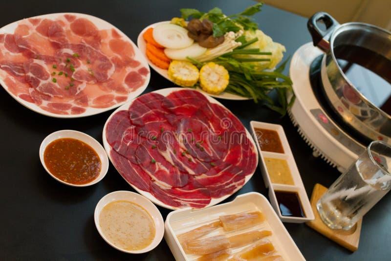 The Fresh food for hot shabu. stock photography