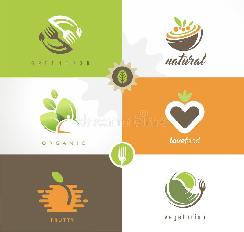 Fresh food logo design concepts collection. Love food. Stylized symbols and signs for vegan restaurant. Vector emblem layouts stock illustration
