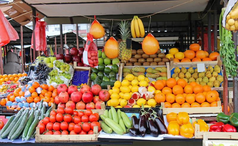 Fresh food market stall stock images