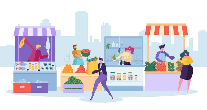 Fresh Food Market Stand. Organic Local Farm Store. Man Customer Character Buy Grocery and Fish in Small Eco Shop vector illustration
