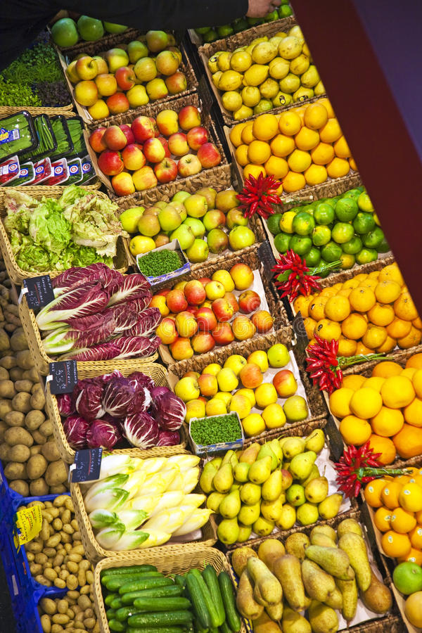 Fresh food offered at the market. Fresh food offered in a food market hall royalty free stock images