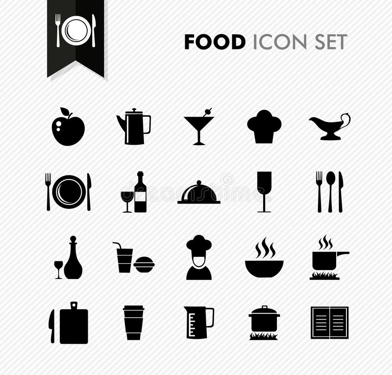 Fresh Food restaurant menu icon set. stock illustration