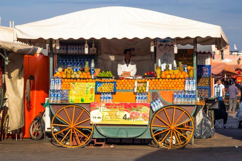 Fresh food stand Marrakesh Morocco stock images