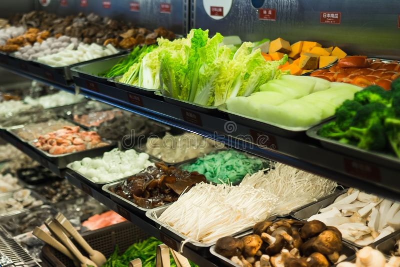 Fresh food and vegetable and meat for Taiwanese hot pot royalty free stock images